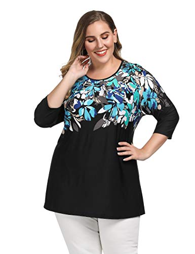 Chicwe-Womens-Plus-Size-Raglan-Sleeves-Floral-Printed-Top-Casual-and-Work-Tunic