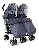 Cosatto Supa Dupa Double/Twin Stroller – Pushchair from Birth, Lightweight, Compact Fold, Fika Forest