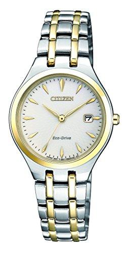 CITIZEN Damen Analog Solar Uhr mit Edelstahl Armband EW2484-82B