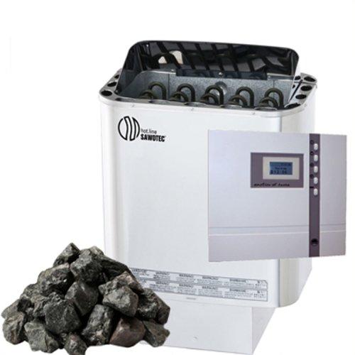 Saunaset Edelstahl Sauna Ofen Nordex 8 kW mit TOP Aussensteuerung mit Zeitvorwahl ECON EOS Econ D1 und Olivin-Diabas SAUNASTEINE