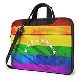 15.6 Inch Funda Bandolera Maletín para Portátil Maletín de Hombro para Negocio Viaje Venezuela Flag Bandera Gay Community Lgbti