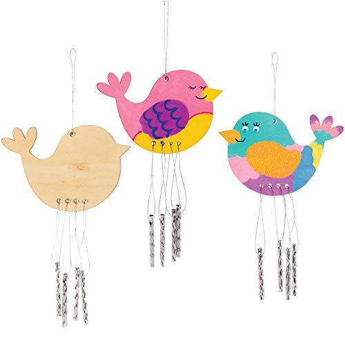 Scacciapensieri in Legno Uccelli Baker Ross (confezione da 4)- Articoli creativi di arte e artigianato per i bambini da realizzare e decorare