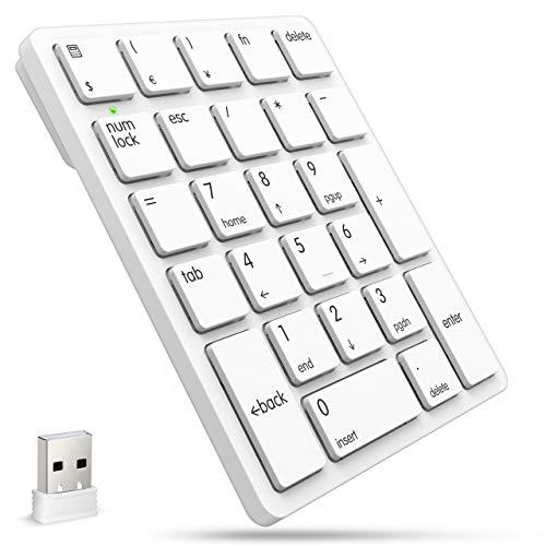Spadgerテンキー ワイヤレス テンキー2020最新版 充電式 無線 2.4GHz 数字キーボード 無線 小型 極薄型 26キー 人間工学 テンキー ナンバーパッド パソコン PC USBレシーバー付き (シルバー)