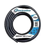 Electraline 11761 Couronne de Cable H05 VV-F 3G1,5 10M Noir