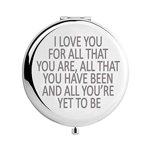MOORAY Birthday Gifts for Women Wife Girlfriend Unique Gift Ideas for Birthday Valentines Day Anniversary Engraved for Her Personal Makeup Mirror (Love You for All(2.6inch))