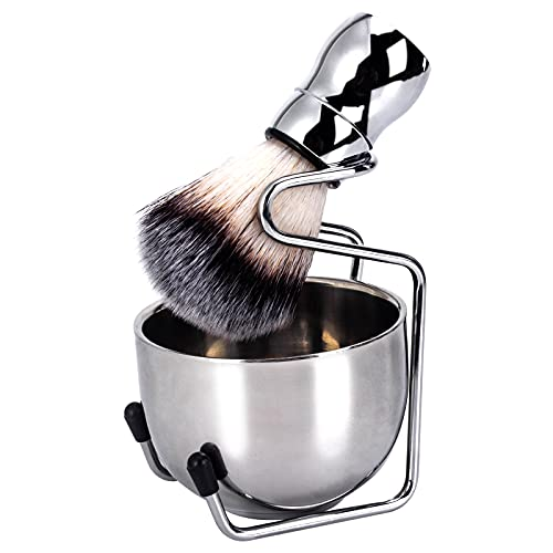 Wskderliner Set da Barba,Pennello da Barba con Manico in Metallo di alta Qualità + Porta Pennello da Barba e Ciotola da Barba, Strumento per la Pulizia Della Barba da uomo