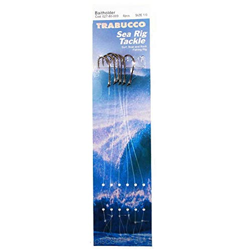 Trabucco Ami da Pesca Legati con Filo Fluorocarbon Bait Holder Misura Amo 04 Diametro Bracciolo 0.40 mm Lunghezza Bracciolo 20 cm Amo Trota Lago Mare Surfcasting