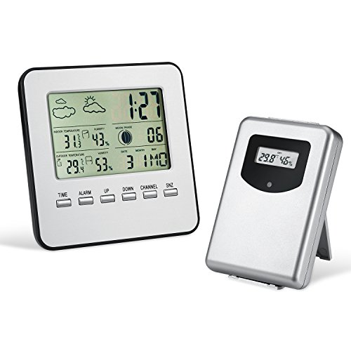 Wireless Weather Station, Amir Indoor/Outdoor Wireless Digital Home Weather Forecaster Station with Thermometer, Humidity, Weather Forecast, Clock, and More