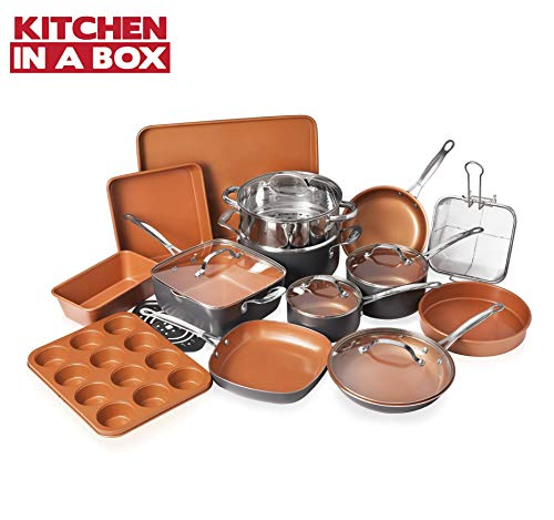 Gotham Steel Cookware + Bakeware Set with Nonstick Durable Ceramic Copper Coating – Includes Skillets, Stock Pots, Deep Square Fry Basket, Cookie Sheet and Baking Pans, 20 Piece