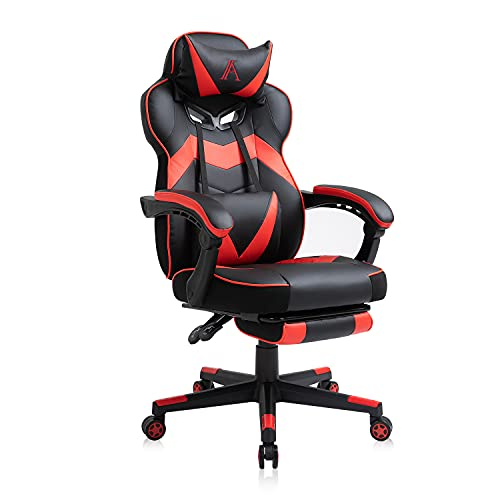 AJS Gaming Chair, Video Game Chair Ergonomic Task Racing Chair Adjustable Swivel PU Leather Office Chair, with Lumbar Support, Headrest, Padded Armrest and Retractable Footrest (RED)