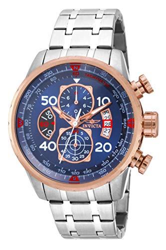 Invicta Men's Aviator 48mm Stainless Steel Chronograph Quartz Watch, Silver (Model: 17203)