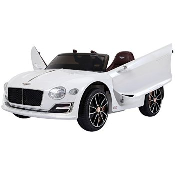 HOMCOM Compatible Electric Kids Ride On Car Bentley GT 12V Battery Powered Toy Two Motors with LED Light Music Parental Remote Control for 3 - 5 Years White Bentley