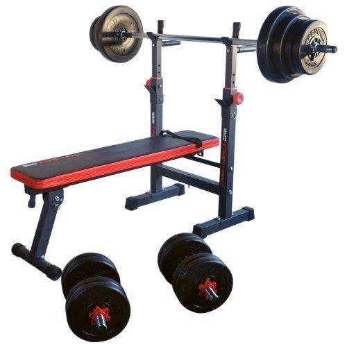 TrainHard® Hantelbank Trainingsbank Multifunktion/Zertifiziert nach DIN/mit Gewichten bis 150kg aus Hanteln Langhantel Curlhantel (+ 50kg Lang- & Kurzhantel)
