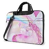 Laptop Notebook PC Bolsa de Hombro-Pink Unicorn Love Heart Portátil PC Mochila de Hombro Bolsa Maletín Messenger con Correa 15.6 ″