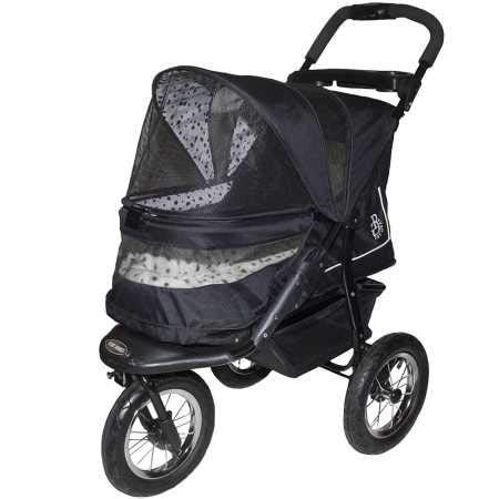 Pet Gear No-Zip NV Pet Stroller for Cats/Dogs, Zipperless Entry, Easy One-Hand Fold, Air Tires, Plush Pad + Weather Cover Included, Optional Divider, Dalmation, No-Zip NV Pet Stroller Only