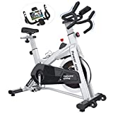 SNODE Indoor Exercise Bike Stationary - Cycling Bike with Tablet Holder, Seat Cushion and LCD Monitor for Home Fitness Cardio Workout