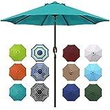 Blissun 9' Outdoor Aluminum Patio Umbrella, Market Striped Umbrella with Push Button Tilt and Crank (Cerulean)