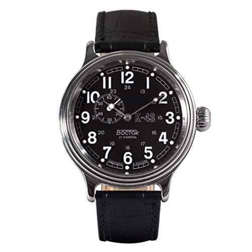 Vostok Retro KIROVSKIE K-43 WWII Herren-Armbanduhr Lederband #540933