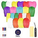Sky Lanterns Pack of 21 with Lighter - Multicolor and Design, Nature-Friendly Floating Wish Chinese Ornaments - Flame Retardant Paper - Weddings, New Year, Birthday, Memorial Decorations