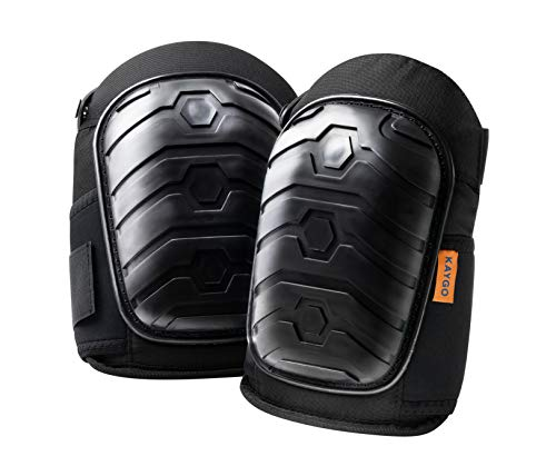Knee Pads for Men and Women - KAYGO KG301, Kneepads with Heavy Duty Foam Padding and Comfortable Gel Cushion, Non Skid (1, Black)