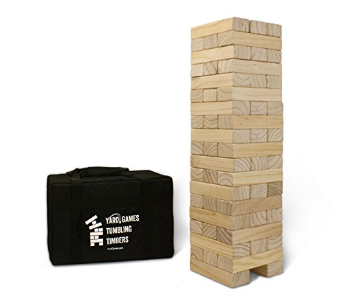 YardGames Giant Tumbling Timbers with Carrying Case | Starts at 2.5-Feet Tall and Builds to Over 5-Feet | Made with Premium Pine Wood