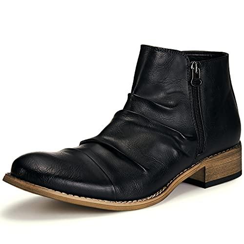 [Yamazaki] ドレープ ブーツ メンズ エンジニア BOOTS サイドジッパー ショート 靴 ワーク シューズ(ブラック,28)