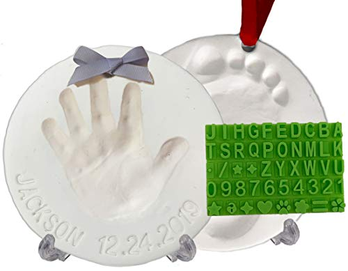 Baby Handprint Footprint Keepsake Ornament Kit (Makes 2) - Bonus Stencil for Personalized Christmas, Newborn, New Mom & Shower Gifts. 2 Easels! Non-Toxic Clay, Air-Dries Light & Soft, Won't Crack.