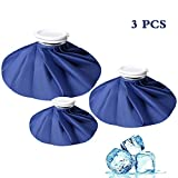 kuou 3 Pack Ice Bag, Reusable First Aid Ice Bag, Hot And Cold Reusable Ice Bag, First Aid Therapy Packs Relief and Reduce Sports Injuries,Deep Blue(11'+9'+6')