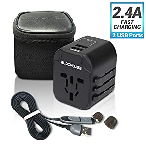 🔌【𝗔𝗟𝗟-𝗜𝗡-𝗢𝗡𝗘 𝗨𝗡𝗜𝗩𝗘𝗥𝗦𝗔𝗟 𝗧𝗥𝗔𝗩𝗘𝗟 𝗔𝗗𝗔𝗣𝗧𝗘𝗥】This Travel Power Adapter covers over 150+ countries US/EU/UK/AU plugs and Powerful Dual USB Ports. It is universal in Asia, Australia, New Zealand, Argentina, USA, Canada, Japan, Brazil, Philippines, Thailand, H...