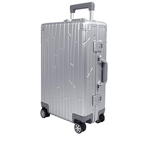 GUNDEL Aluminium Reisekoffer Check-in 66x43x23 cm H/B/T 55L 4x360° Rollen Silber 2X TSA-Zahlenschloss