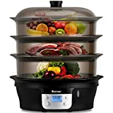 COSTWAY Food Steamer Vegetable Steamer 3 Tier Stackable Baskets 20 Quart Capacity 1000W Fast Heat-Up Timing, Automatic Shut Off, Appointment Electric Pot Cooker w/Food Tray