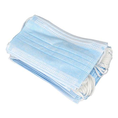 Maschere per polvere: 50 mascherine usa e getta, maschere per il viso, mascherine chirurgiche con clip a 3 strati, maschere dentali monouso, in garza, antipolvere – blu Blue
