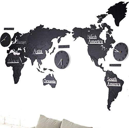 Murale di grandi dimensioni Design moderno Orologio da parete in legno Home Decor Saat Mappa del...