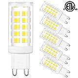 G9 LED Bulbs Bi Pin Base - Honesorn 6000K Daylight Standard G9 Base Chandelier Light Bulb,4W(40W Halogen Equivalent),400LM Light Bulb for Home Lighting,360° Beam Angle,Non-dimmable,Pack of 6