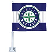 """Officially licensed Car Flag made with a durable knit polyester flag. Two sided imprint. The Car Flag is shaped and measures 10.75"""" high x 14"""" wide and is attached to a 20.5"""" long-lasting vinyl pole. Car flags make a great statement throughout the ye..."""
