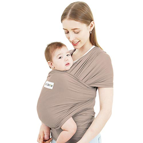 Acrabros Baby Wrap Carrier,Hands Free Baby Carrier Sling,Lightweight,Breathable,Softness,Perfect for Newborn Infants and Babies Shower Gift,Cappuccino