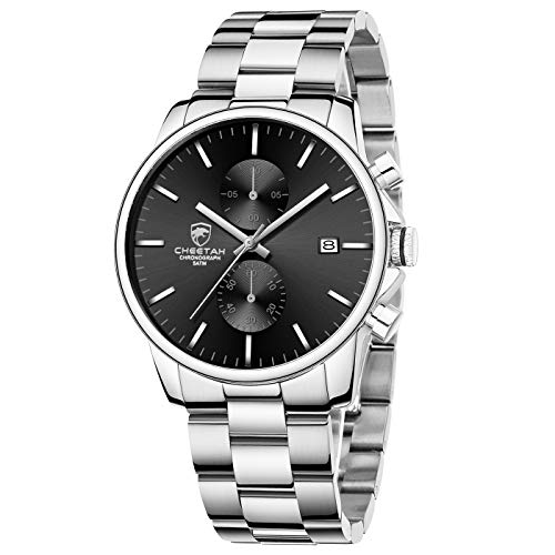 GOLDEN HOUR Men's Watches with Silver Stainless Steel and Metal...