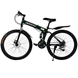 26 in Full Suspension Mountain Bike, 21 Speeds Road Bike City Commuter Bicycle with Dual Disc Brakes, Folding Bike City Riding ​​Bicycle for Men and Women