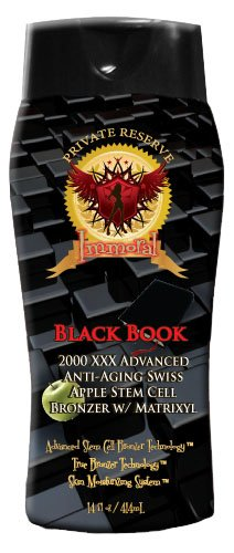 Immoral Tanning Lotion Black Book 2000 Xxx Advanced Anti-Aging Stem Cell Matrixyl Bronzing Tanning Lotion   Streak Free Tattoo Safe Tanning Bed Silicone Dark Bronzer, Intensifier, Accelerator And Tan Maximizer, 11Oz