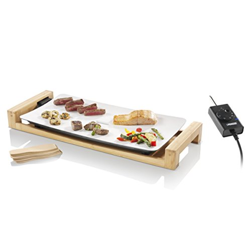 Princess Tischgrill Pure – luxuriöse Teppanyaki-Grillplatte auf Bambusrahmen – weiße Keramikbeschichtung, 103030