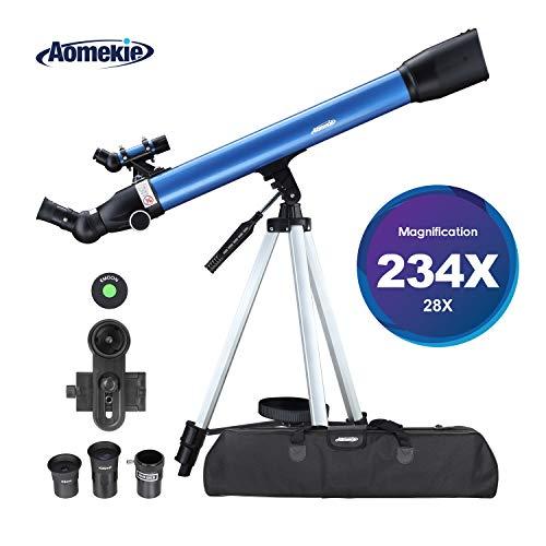 Aomekie Telescopio Astronómico para Niños 60/700 Astronomico Refractor con Trípode Adaptador para Teléfono Ffiltro Lunar para observación de Estrellas y observación de Aves (F70060MM)