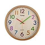 Foxtop Silencieuse sans Tic-tac Enfants Horloge Murale Décorative Colorée...