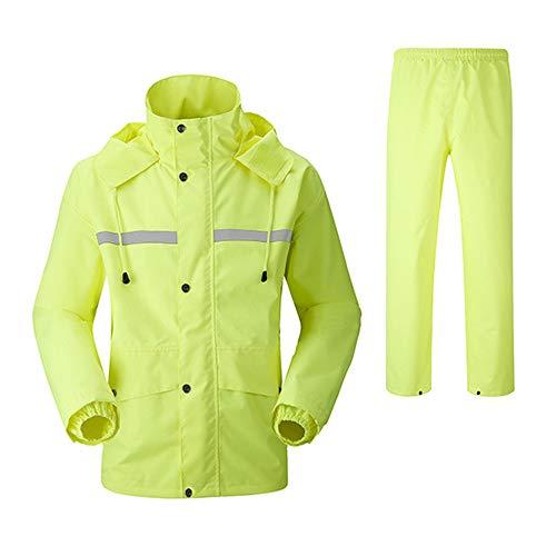 CIGONG Regenjacke und Hose reflektierende Sicherheit Regenjacke mit Kapuze Ponchoanzug Motorrad Regenhosen für Aktivitäten im Freien Schutzausrüstung Regenjacke (Color : Green, Size : M)