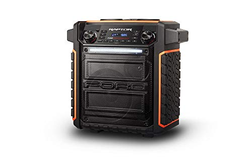 ION Audio Raptor | Ultra-Portable 100-Watt Wireless Water-Resistant Speaker with 75-Hour Rechargeable Battery, Bluetooth Streaming, AM/FM Radio and Multi-Color Light Bar