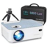 Proyector, Mini Proyector Portátil FANGOR Video proyector Cine en casa 5500 lúmene Soporte 1080P Bluetooth proyector, Compatible con TV Stick, PS4, HDMI (Actualización 2020)