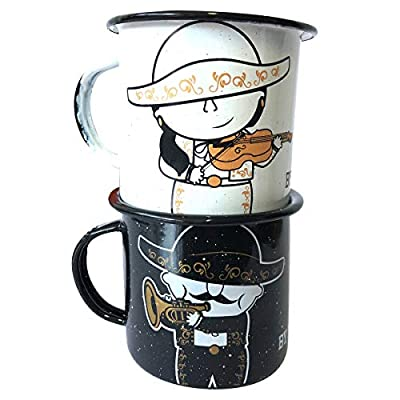 Mugs feature designs of trumpet and violin playing mariachi figures Enamel cups are great for hot or cold drinks like coffee, tea, Mexican hot chocolate, apple cider, lattes, horchata, and more Black mug features trumpet-playing Guicho; the white mug...