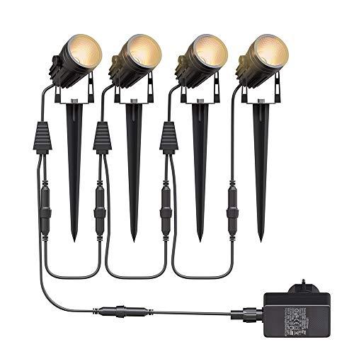 Gartenbeleuchtung LED,Aogled 4x3W COB im Freien IP65 Wasserdichter Gartenleuchte, Warmweiß 3000K Gartenstrahler mit Erdspieß,Dekorative Gartenlampe Beleuchtung für Außen Garten Rasen (4er Pack)