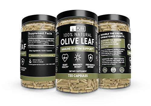 Olive Leaf, 1 Year Supply, 730 Capsules, 940mg, No Magnesium or Rice Filler, Non-GMO, Antioxidant, Gluten-Free, 20% Oleuropein, Made in USA, Undiluted Olive Leaf with No Additives 3