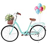 PUTEARDAT Beach Cruiser Bike 26in Classic Bicycle Retro Bicycle with Comfortable Seats and Baskets & Back Seats Womens Bike (Blue)