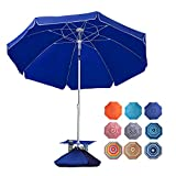 ROWHY 7.5FT Beach Umbrella with Cup Holder and Sand Bags Portable Outdoor Heavy Duty Sunshade...